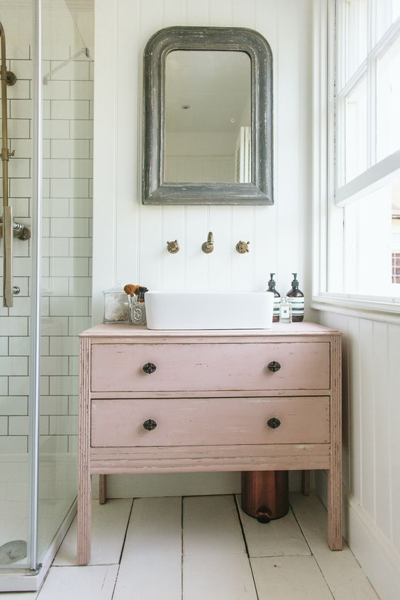 Pink is all the rage right now. Paint a flea market find. See Graham and Brown's 2018 Color of the Year