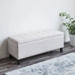Ksp Whitney Upholstered Storage Bench Natural Kitchen Stuff Plus
