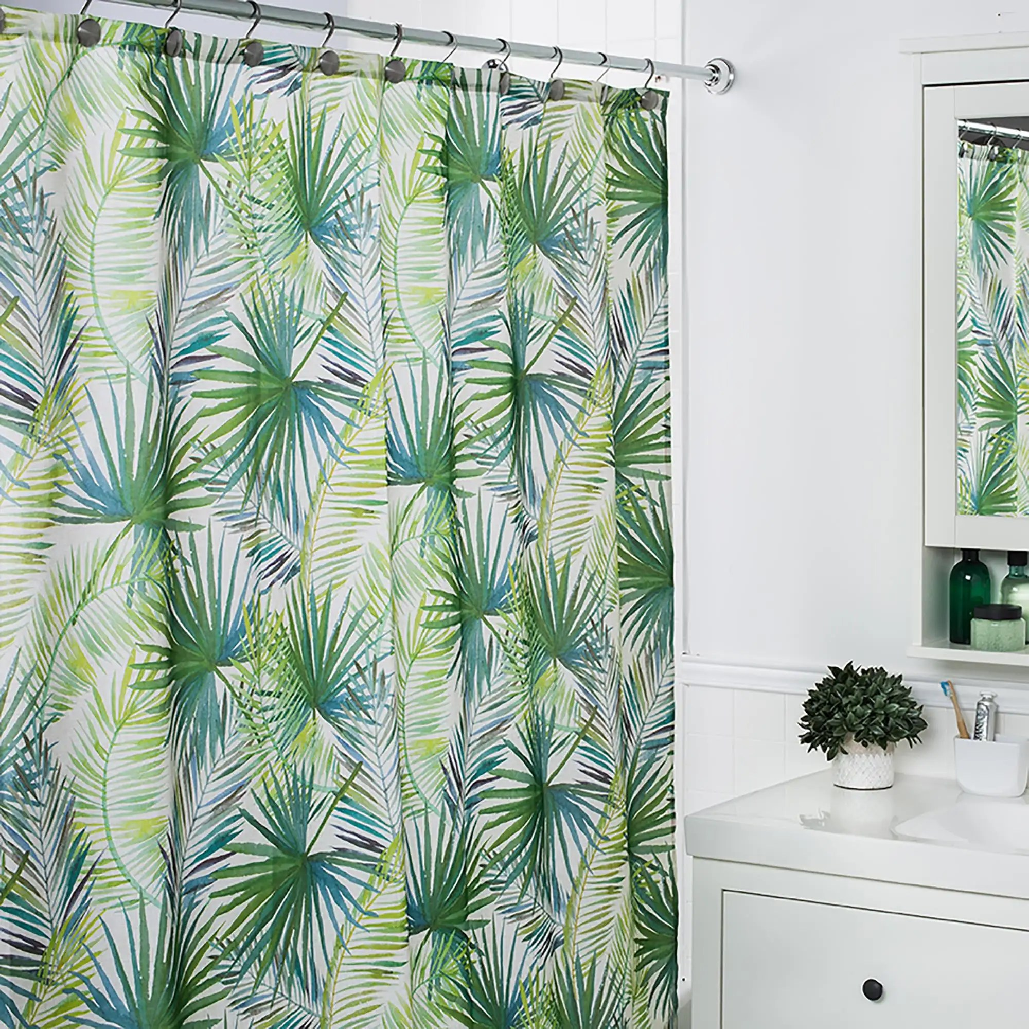 moda at home polyester palm tree shower curtain green white