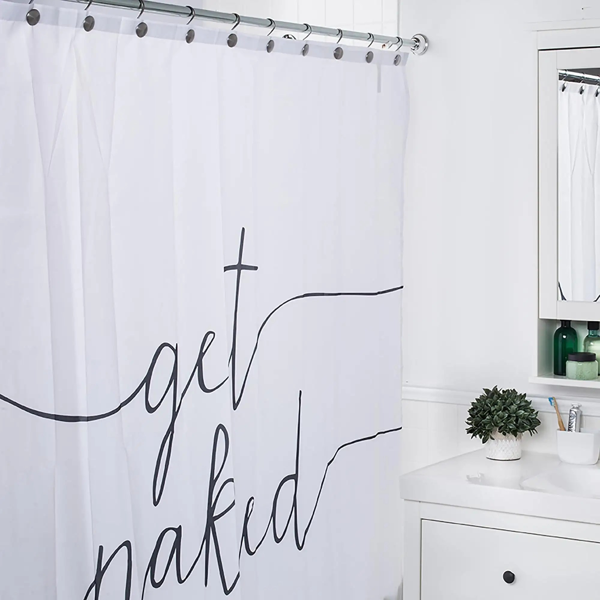 moda at home polyester get naked shower curtain black white