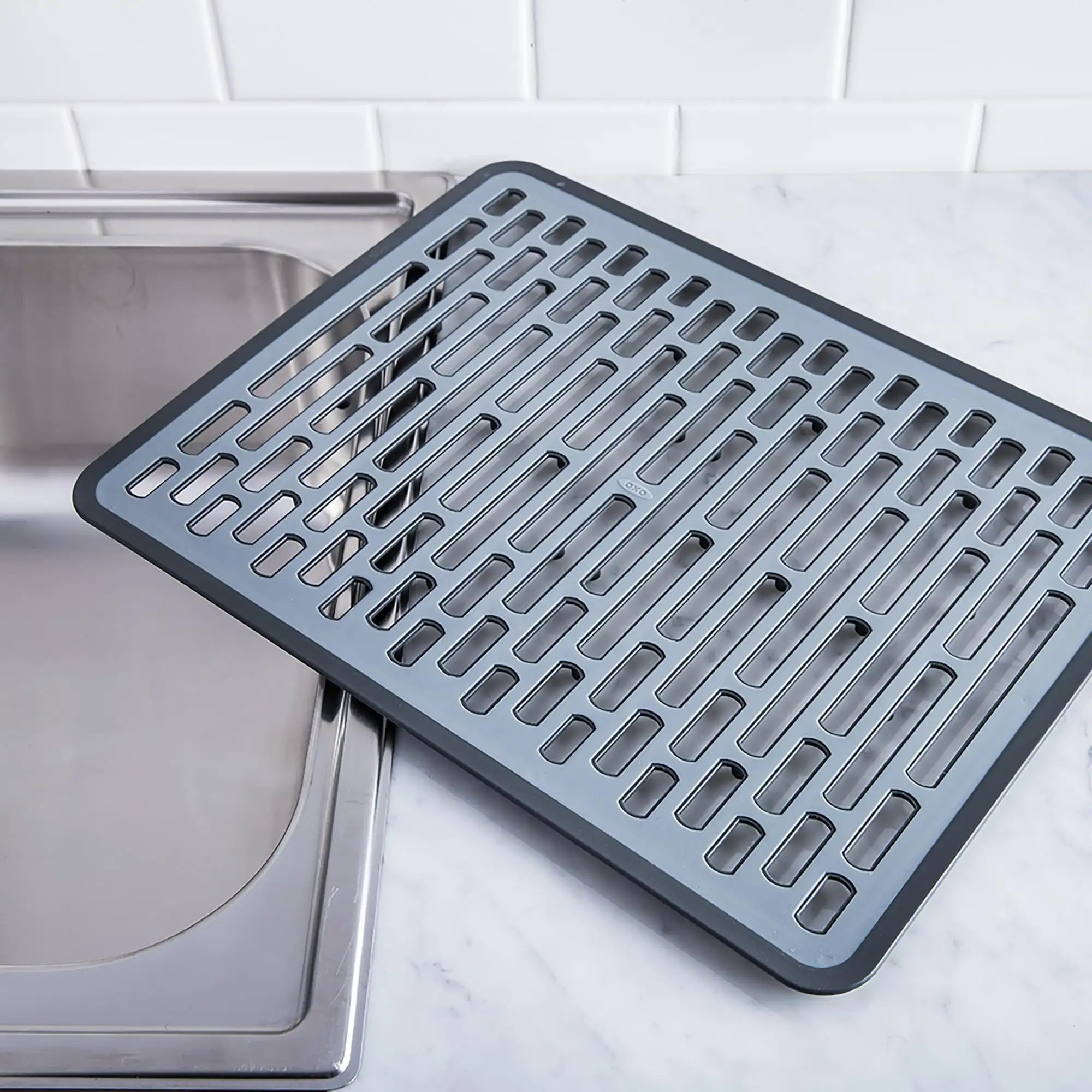 oxo good grips sink silicone sink mat large black grey