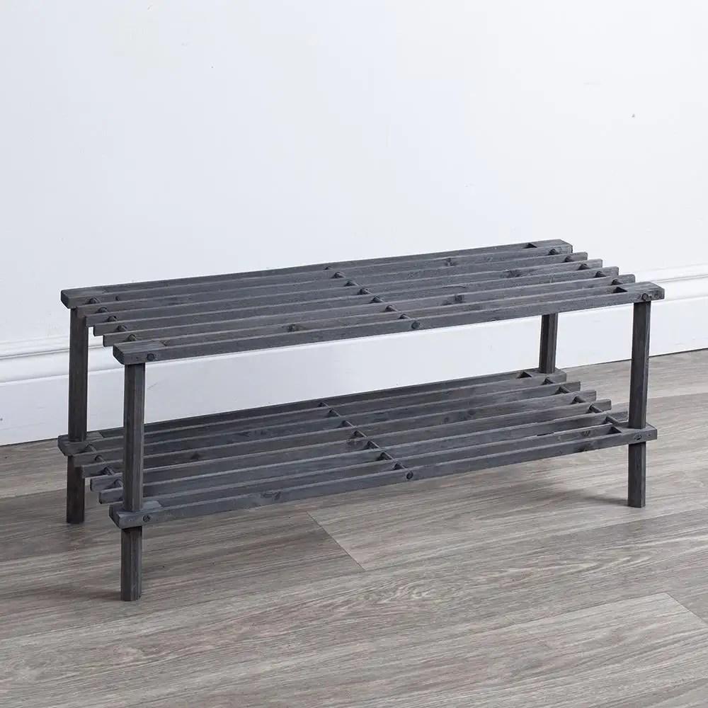ity shoe hub 2 tier shoe rack grey