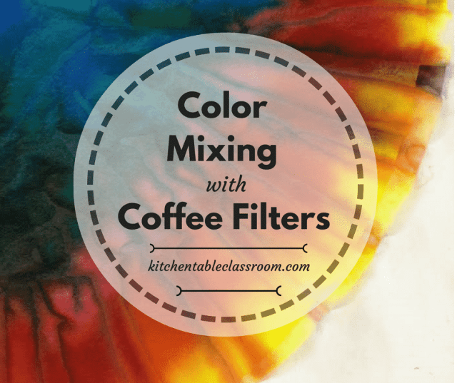 Color Mixing on Coffee Filters -Primary colors are one of the first art concepts I like to introduce young kids to in art.  First, because they are a basic building block for for understanding how to make all kinds of things.  And second, because mixing colors is kind of magical.   Color mixing on coffee filters is a fun introduction to what happens when those primary colors mix together!