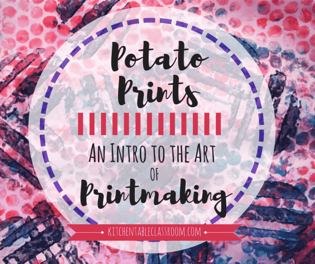 Printmaking is hands down my favorite art activity.Bonus~ no drawing ability required! It can be as simple as these potato prints; carve, paint,and print!