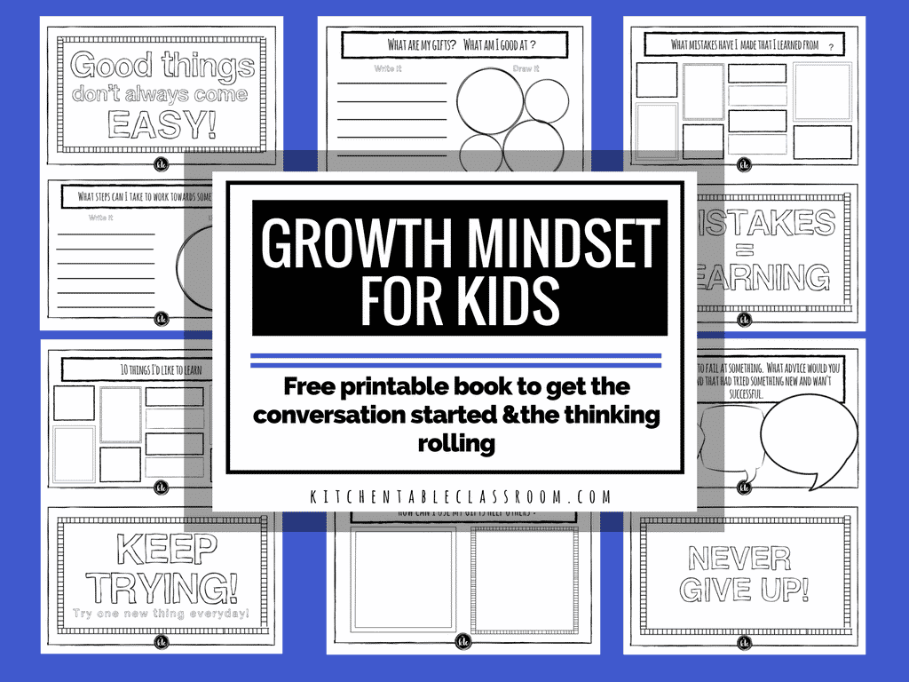 Growth Mindset For Kids Free Printable Book
