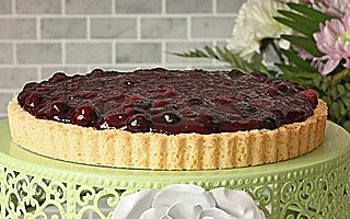 Blueberry Cheesecake Tart with a Shortbread Crust