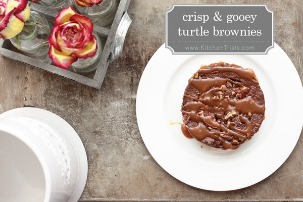 Crisp and gooey turtle brownies