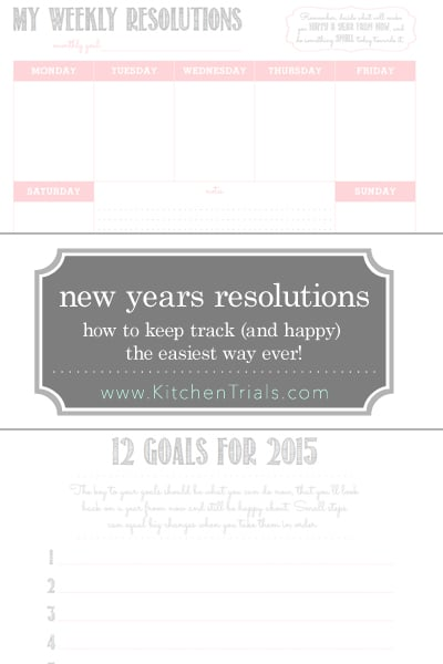 Making New Years Resolutions so you can actually meet them, and stay happy. Two free downloads so you can set 12 goals for 2015 (think small steps), then a weekly resolution chart to fit those steps into the life you're already living. I hate the whole idea of New Years Resolutions, so this year I found a way to set goals that will make me happy through 2015, without the guilt of some giant, nearly impossible single task.