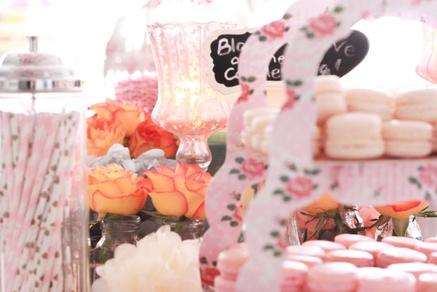 vintage pink party flowers 3