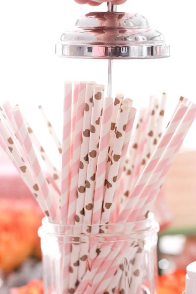 vintage pink party straws