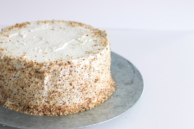 Four thin, airy layers of hazelnut torte are sandwiched between billowy, lightly sweetened whipped cream. One of the easiest cakes you can make, and it will have everyone thinking you bought it at a bakery.