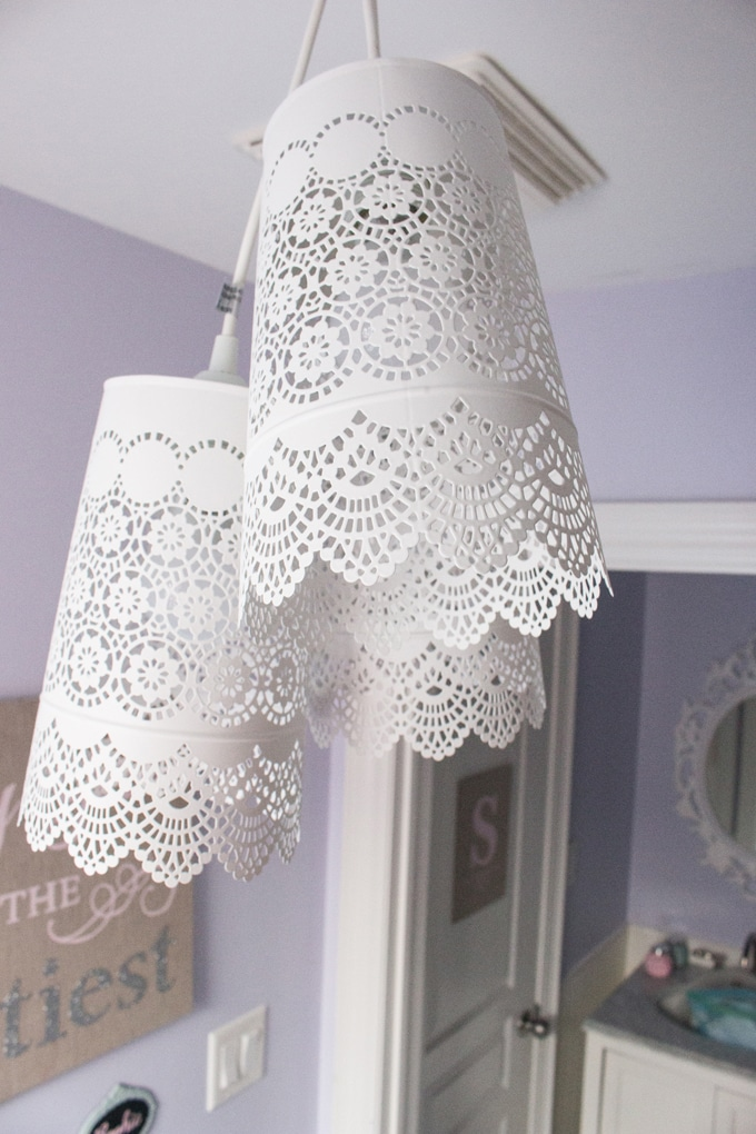 Ikea hack diy chandelier a pretty and delicate lace like pendant chandelier made for less than 35 using three aloadofball