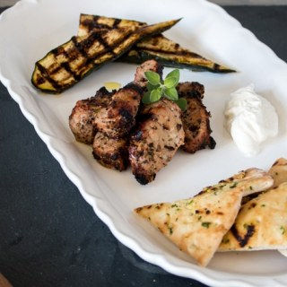 Easy Pork Souvlaki with Grilled Garlic and Herb Pitas