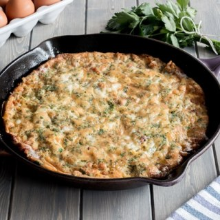 A classic meal, Frittata Lyonnaise is packed full of onion, potato, sausage (or bacon), and gruyere cheese. It's an amazing one pan breakfast that's only 30 minutes from start to finish!