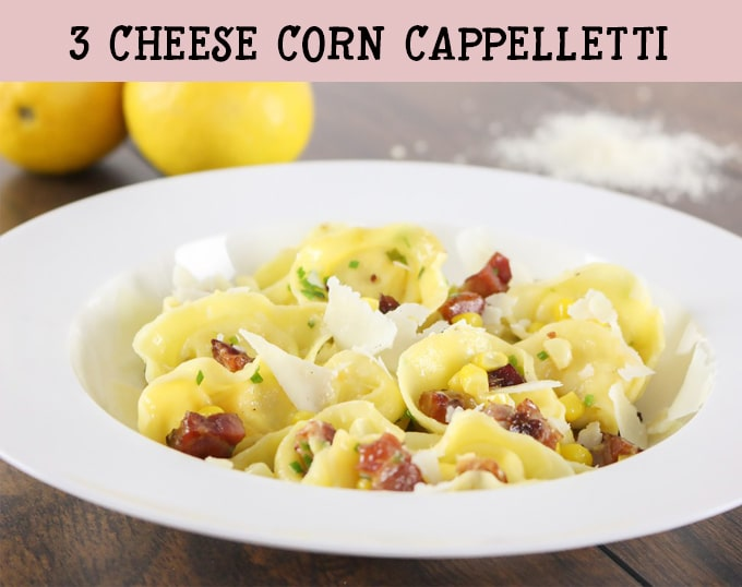 Three Cheese Corn Cappelletti with Pancetta. I show you two ways to make it: one all from scratch, and one in 30 minutes!