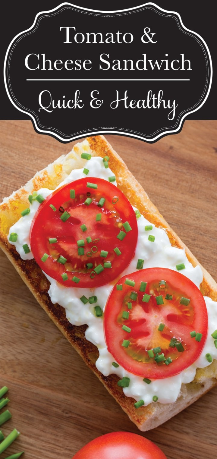 An open face tomato and cheese sandwich is the perfect quick meal for a busy day.