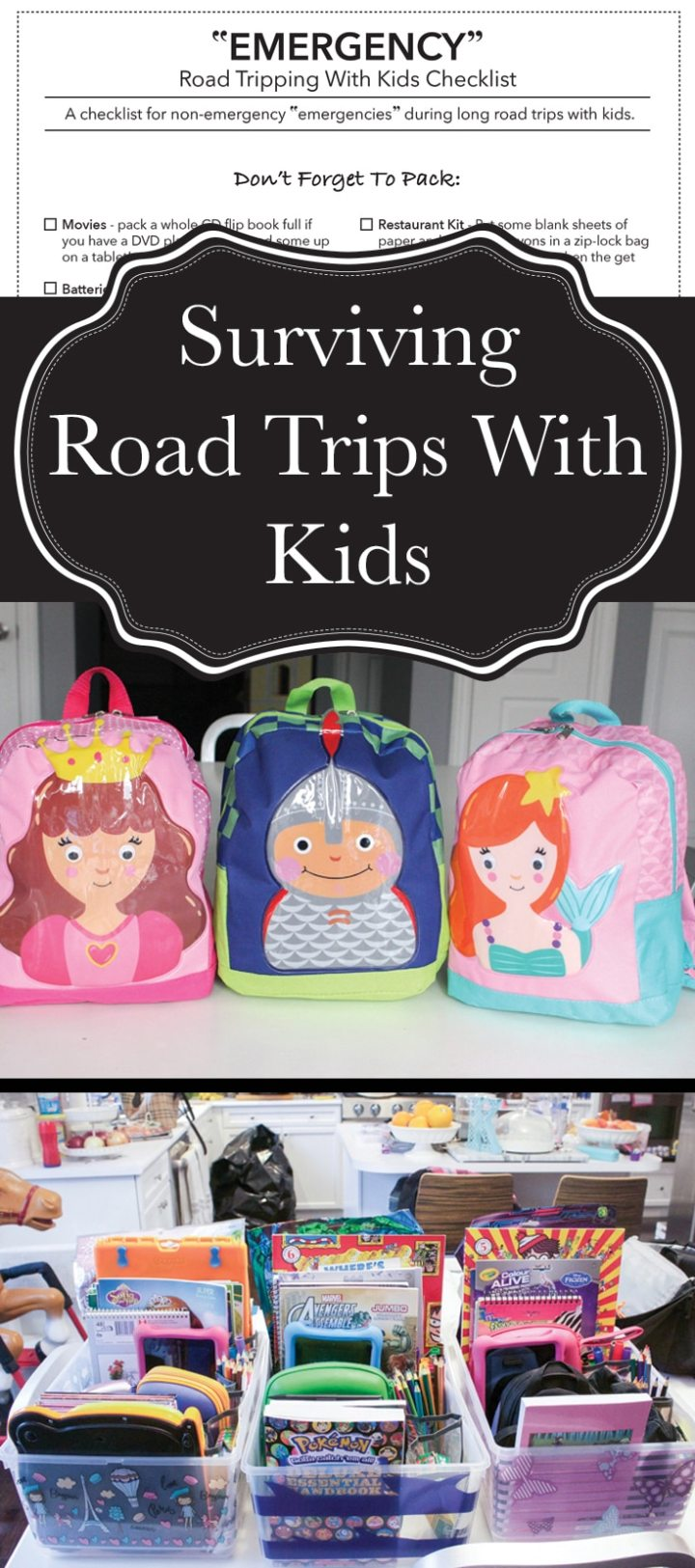 """Tips and tricks to survive long road trips with kids. I've got how-to's for busy bins and surprise bags, the perfect timing for traveling with kids, and an """"emergencies"""" checklist so you don't forget anything!"""