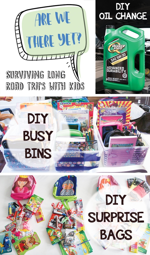 "Tips and tricks to survive long road trips with kids. I've got how-to's for busy bins and surprise bags, the perfect timing for traveling with kids, and an ""emergencies"" checklist so you don't forget anything!"