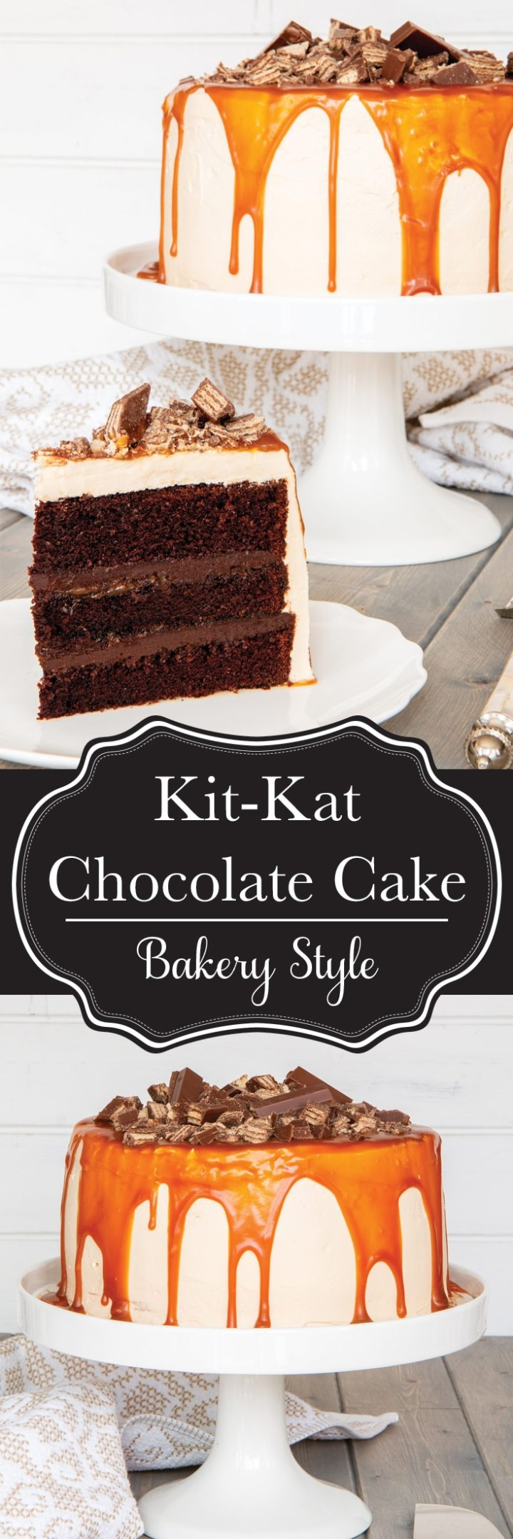 Everyone loves a Kit Kat bar, especially Bo. We saw a little Kit Kat Cake in the grocery store that he wanted, and I told him I could do WAY better than that. Here it is: super moist chocolate cake with a fudge filling and a smooth, delicious caramel buttercream. And lots (AND LOTS) of Kit Kat pieces!