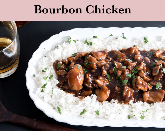 bourbon chicken on a bed of white rice