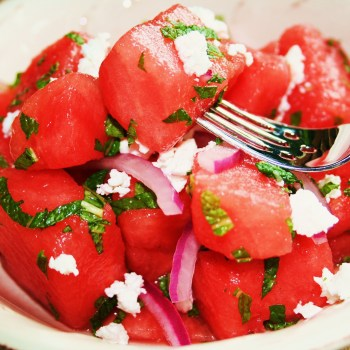 Cool watermelon salad with mint and feta