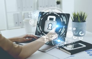 Businesswoman typing, laptop, digital security