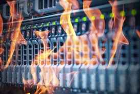 Disaster in data center room server and storage on fire burning