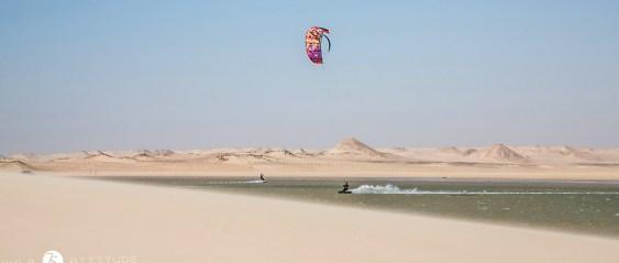 Flat water kitesurfing in Dakhla, Morroco