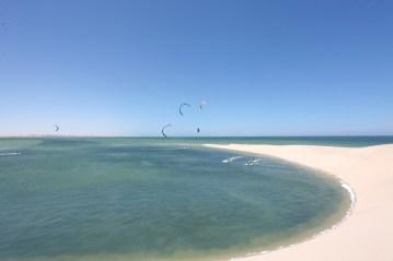 Flat water kitesurfing at the White Dune in Dakhla