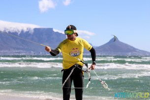 You know it's windy when Steven Akkersdijk breaks out the goggles
