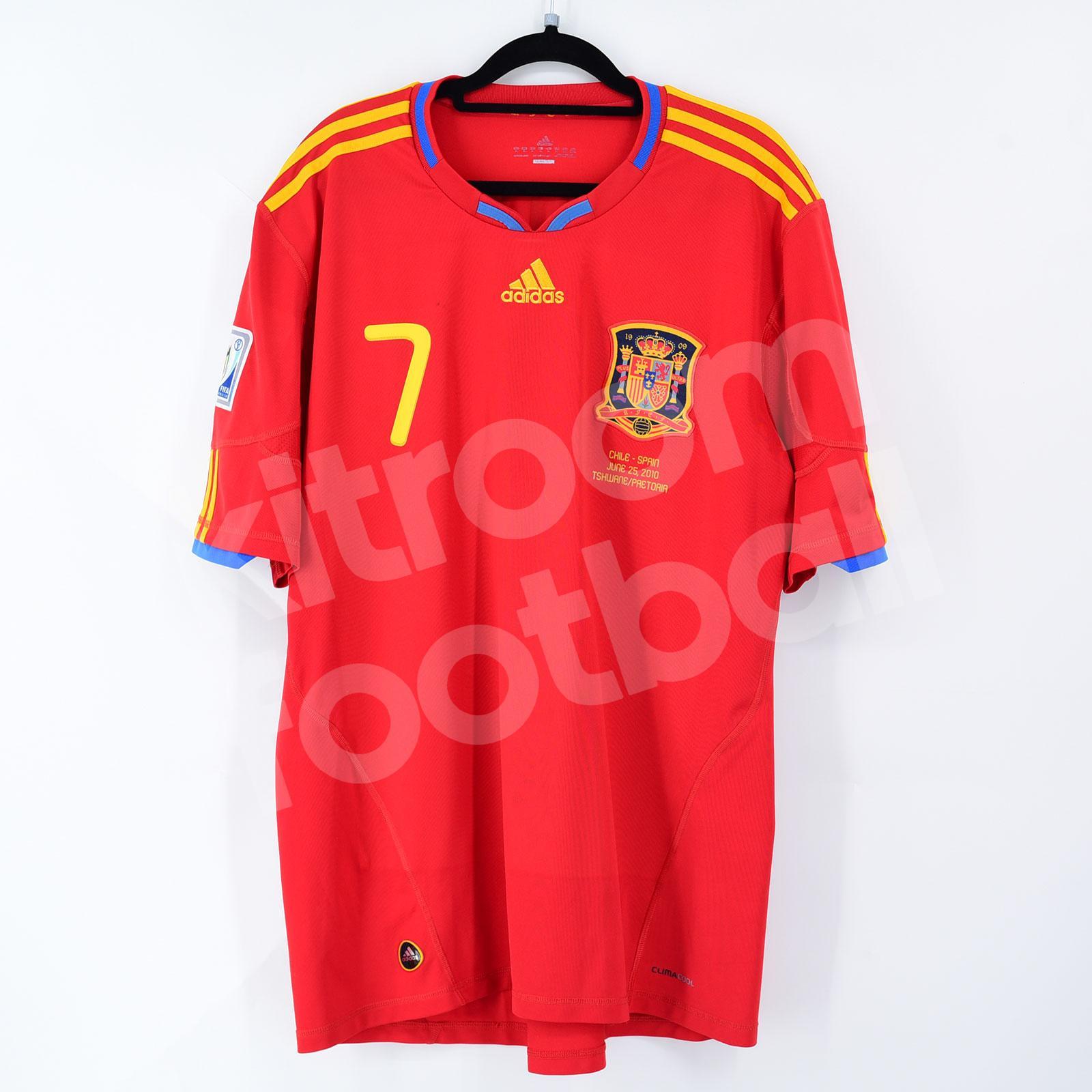 World Cup 2010 South Africa Spain Away Shirt #7 DAVID VILLA (Very Good) XL Adidas vs Chile