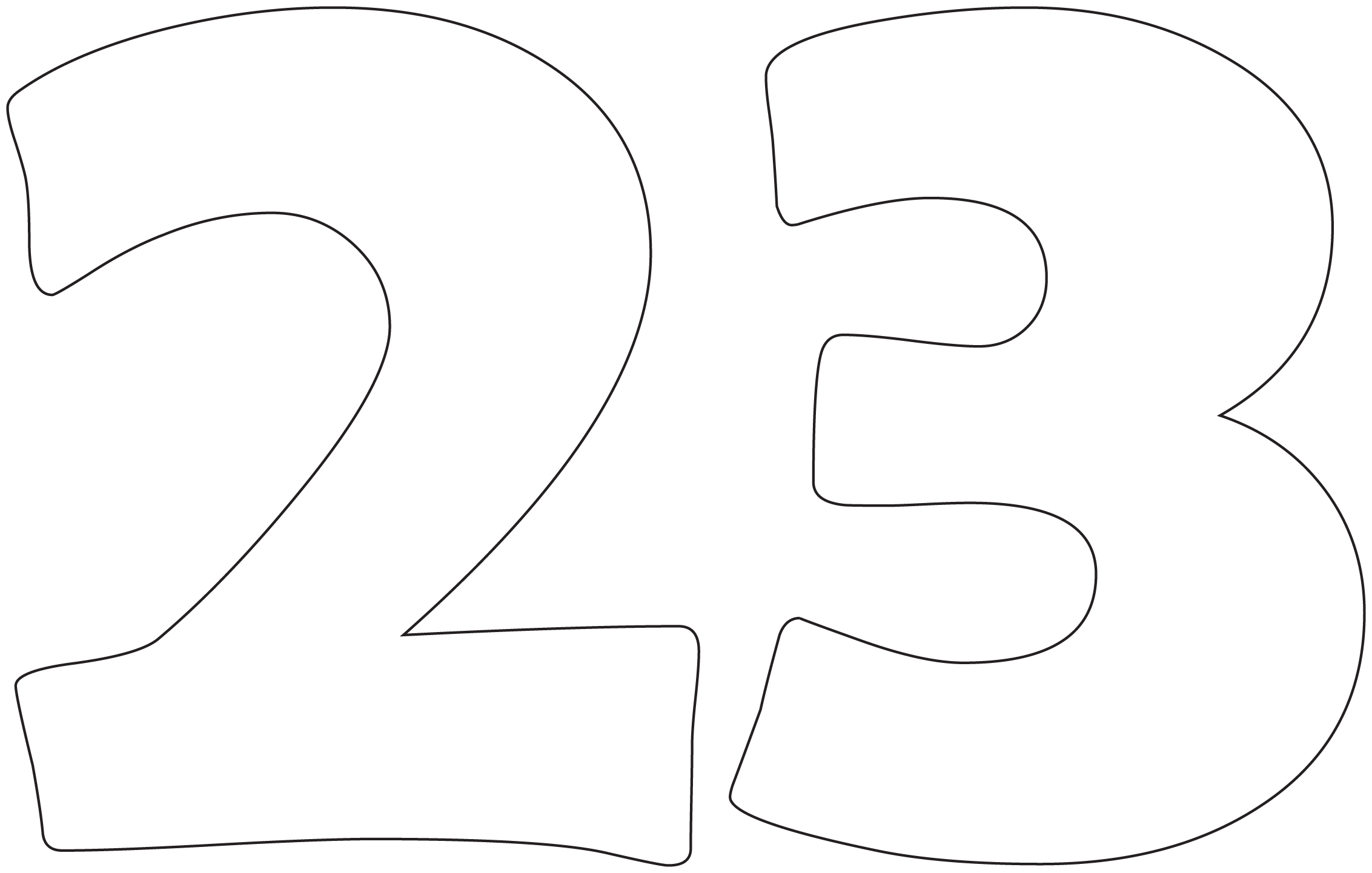 Number 23 Coloring Page Sketch Coloring Page