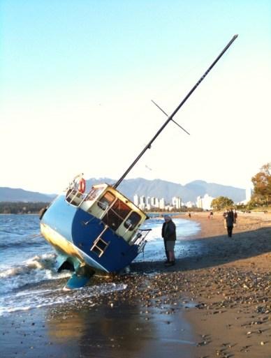 Sailboat washed up at Kits beach