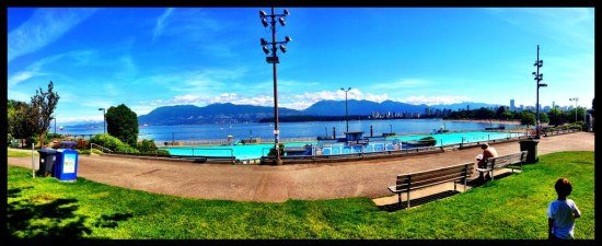 the view above Kitsilano Beach Pool