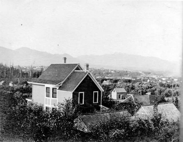 Image: Vancouver Arcives, 1903, [View of Kitsilano looking north from 1875 7th Avenue], showing Chief Samuel North's house at 1850 6th Avenue.  AM54-S4-: Be P46.2