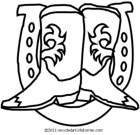 western christmas coloring pages | Western Boots & Horseshoe Free Embroidery Pattern - kitskorner