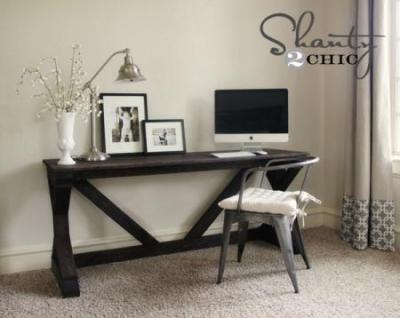 $55 Fancy X Desk DIY Tutorial - kitskorner