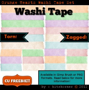 Grunge Hearts Washi Tape CU Freebie