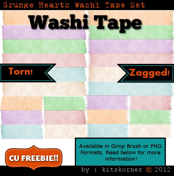 Grunge Hearts Washi Tape CU Freebie