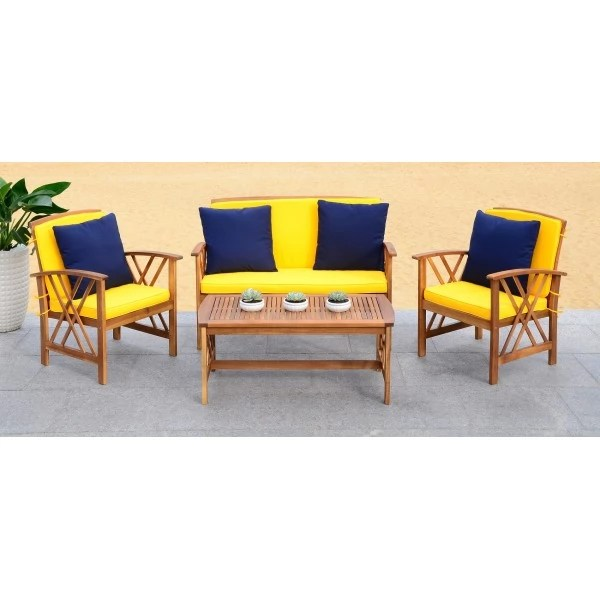 Safavieh Fontana 4 PC Outdoor Set - Natural/Yellow (PAT7008D) on Fontana 4 Pc Outdoor Set id=61381