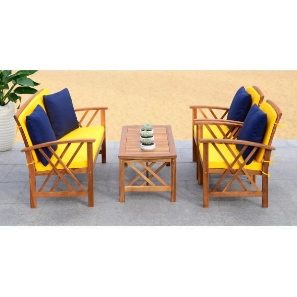 Safavieh Fontana 4 PC Outdoor Set - Natural/Yellow (PAT7008D) on Safavieh Fontana 4 Pc Outdoor Set id=55896