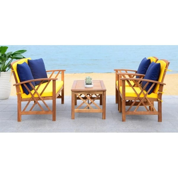 Safavieh Fontana 4 PC Outdoor Set - Natural/Yellow (PAT7008D) on Safavieh Fontana 4 Pc Outdoor Set id=62319
