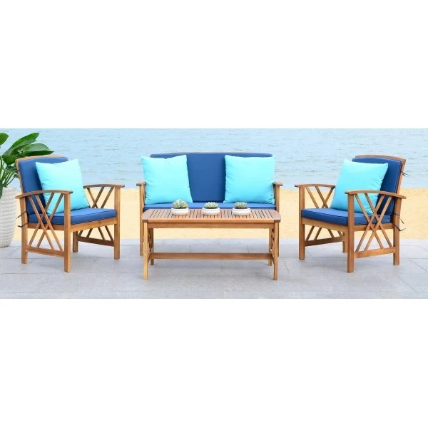 Safavieh Fontana 4 PC Outdoor Set - Natural/Navy (PAT7008C) on Safavieh Fontana 4 Pc Outdoor Set id=53126
