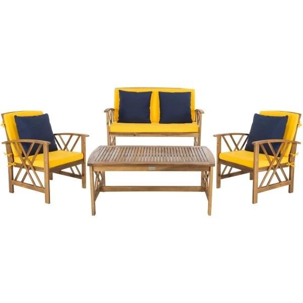 Safavieh Fontana 4 PC Outdoor Set - Natural/Yellow (PAT7008D) on Safavieh Fontana 4 Pc Outdoor Set id=40192