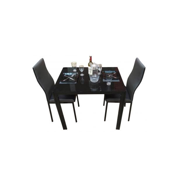 salle a manger 2 places table en verre noir couleur noir