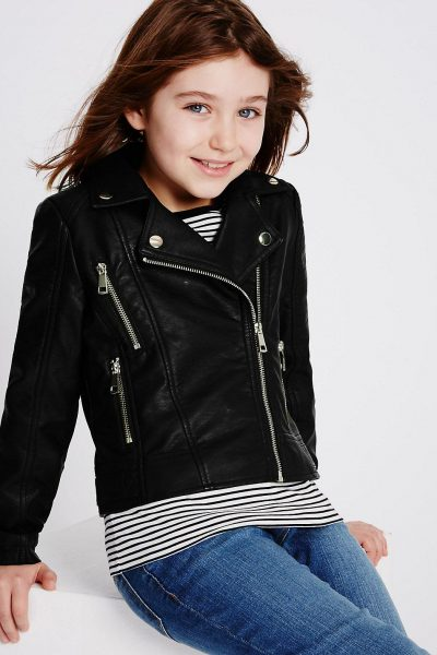 Transition Wear Faux Leather BIker Jacket Kitty and B