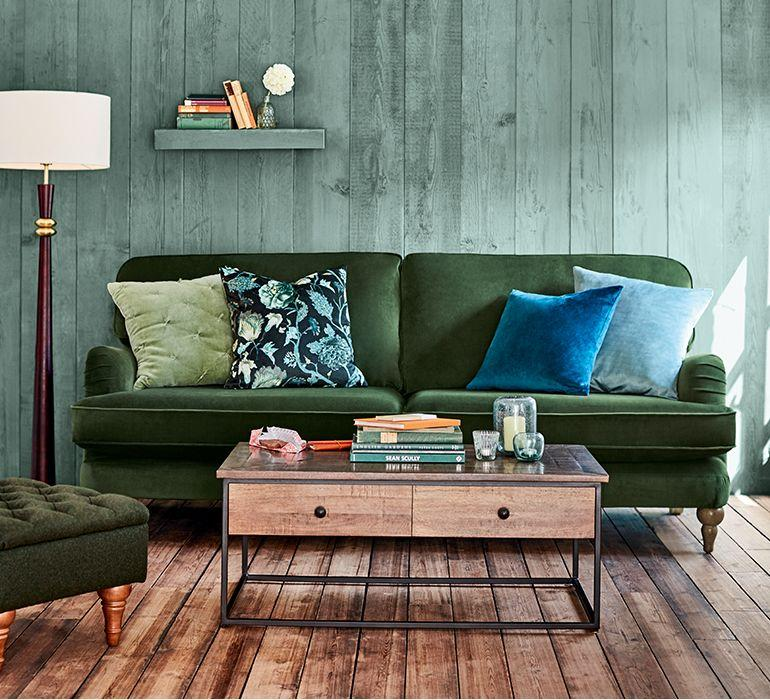 Green, brown and blue colour palette| Today we're talking inspiration for adding green to your living room. Green is a really versatile colour to decorate your home with. But, which colours and tones work well? What kind of accessories work with green? This post gives you ideas for pulling together an elegant green colour palette and pieces for your home. Read more: kittyandb.com #greenlivingroom #interiordecoratinginspiration #colorpalette #colourpalette #greenaesthetic