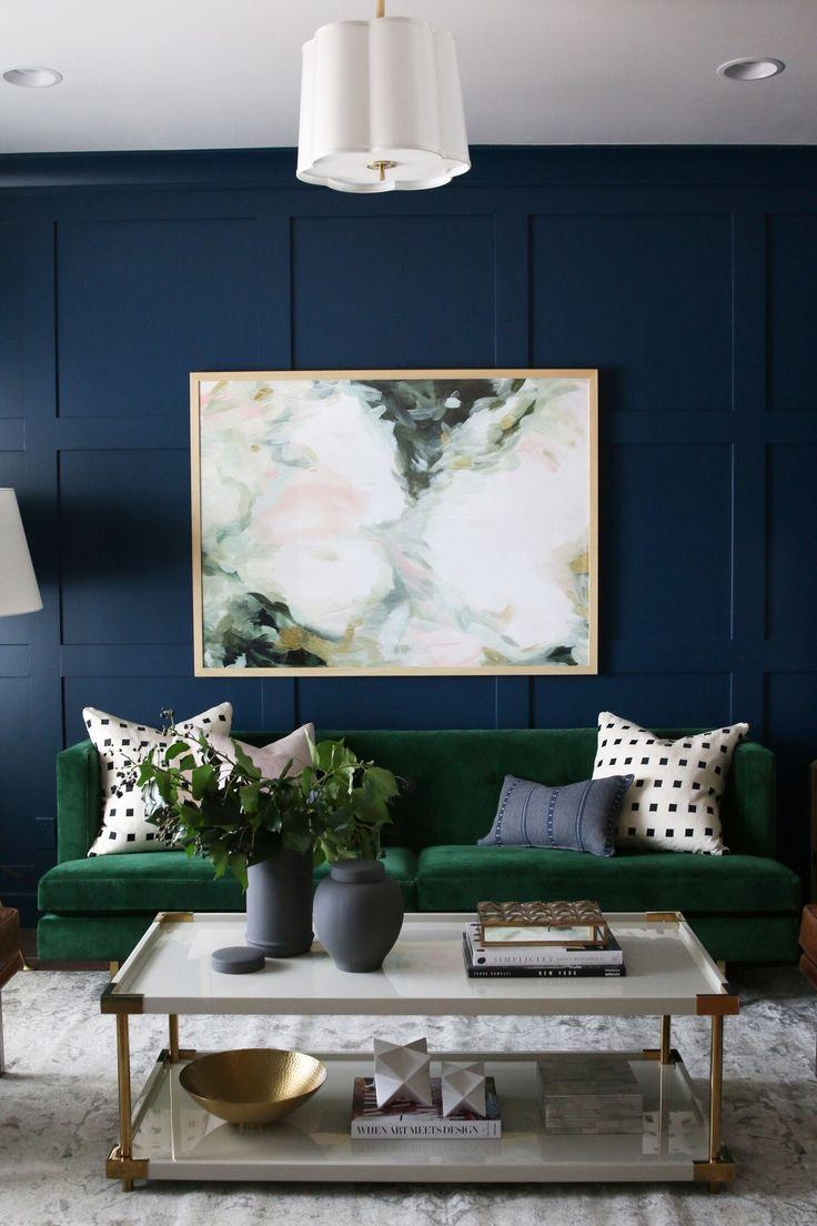 Green and blue living room inspiration | www.kittyandb.com