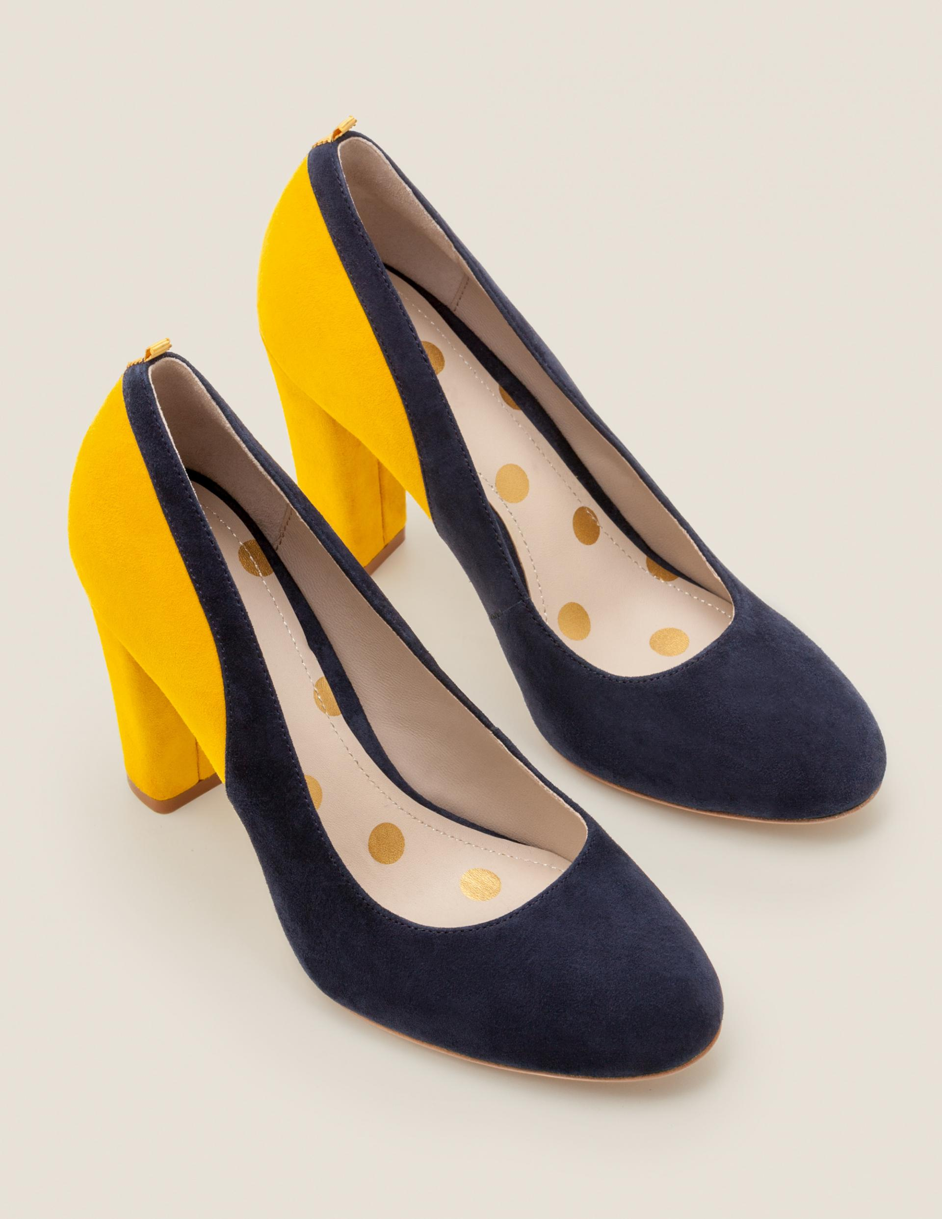Navy and Yellow Colour Block Heels