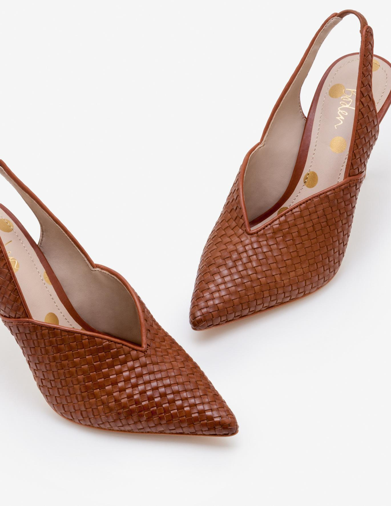 Tan Woven Slingback Heels